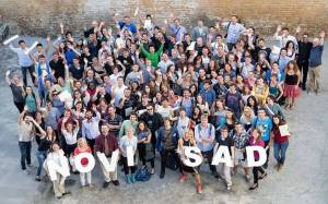 "Your correspondent, more polystyrene than polyglot, holds the letter A for the end of conference ""wedding shot"" (image (c) conference organisers)"