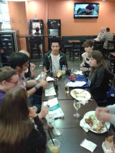 Brian Kwong and +1C particpants, feedback lunch during the Polyglot Gathering, Berlin May 2015.
