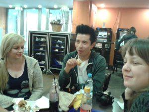 Add1Challenge Berlin meetup. Maureen Millward (left) with Brian Kwong and Judith Meyer.