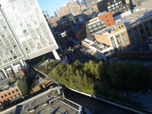 High Line and office block, from atop the Whitney Museum