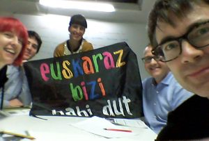 "With my Basque class ""Euskaraz bizi nahi du"" (I want to live in Basque)"