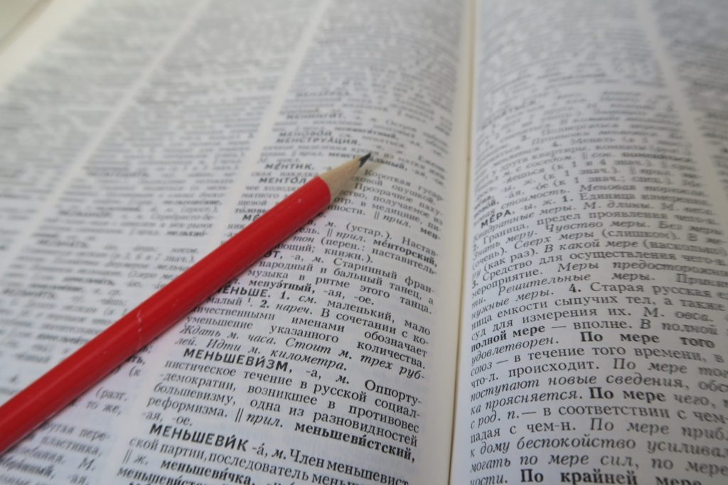Russian vocabulary - picture of an open Russian dictionary