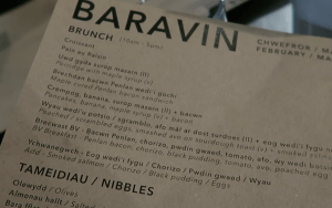 a menu in Welsh