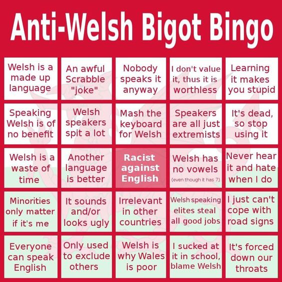 Welsh bigot bingo as an illustration of negative, off-putting attitudes to minority languages