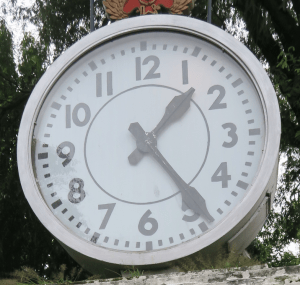 Time and language learning. The clock illustrates how long.