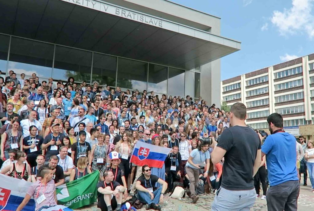 Group photo being taken at the Polyglot Gathering in Bratislava