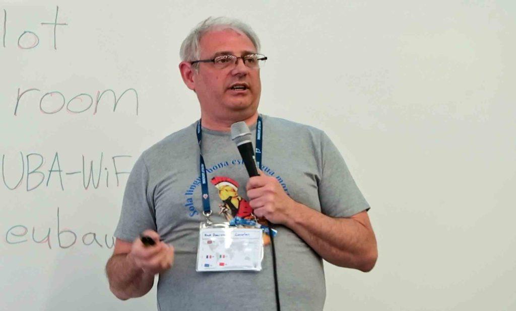 Rick Dearman talks about language exchanges at the Polyglot Gathering 2019