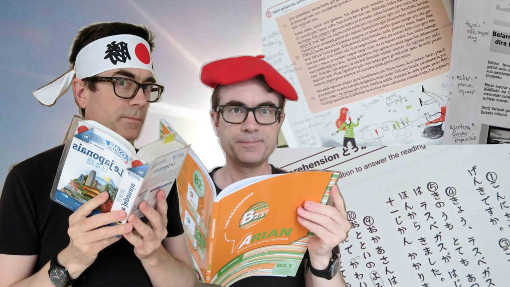 Dr P studying Japanese with Assimil, Dr P studying Basque with Arian B2.1 workbook.
