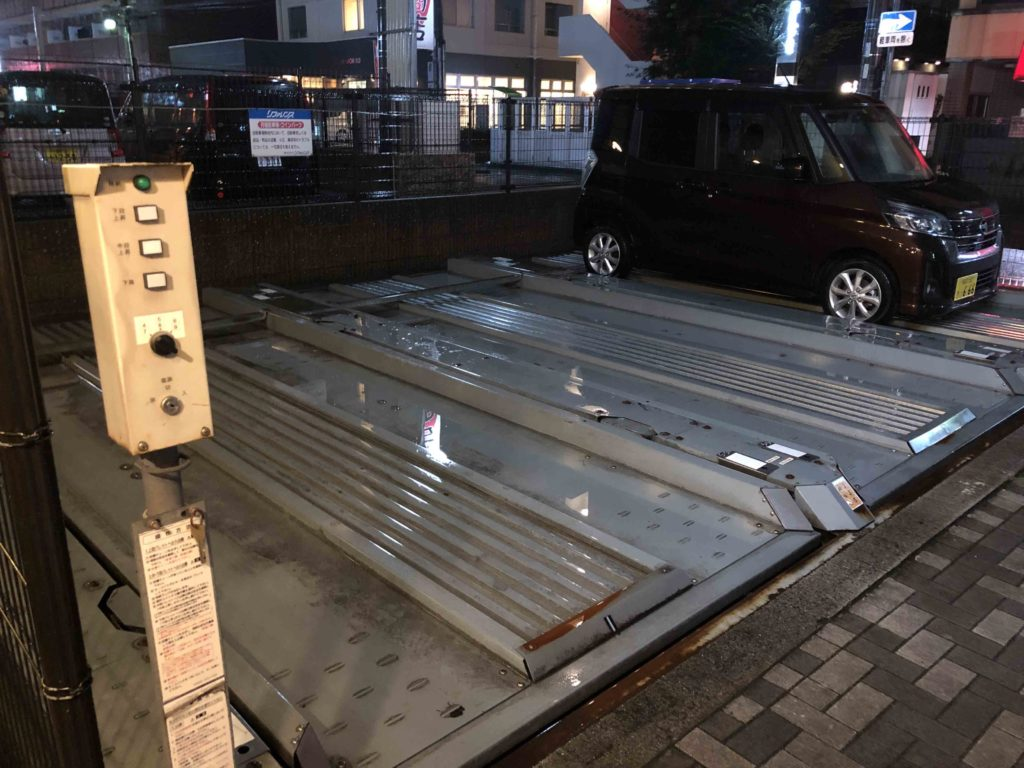 Japanese car parking platform ramp