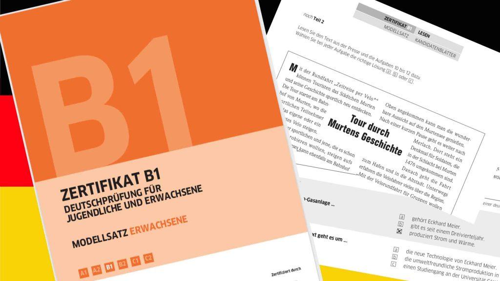 Sample Goethe-Institut German B1 exam paper pages
