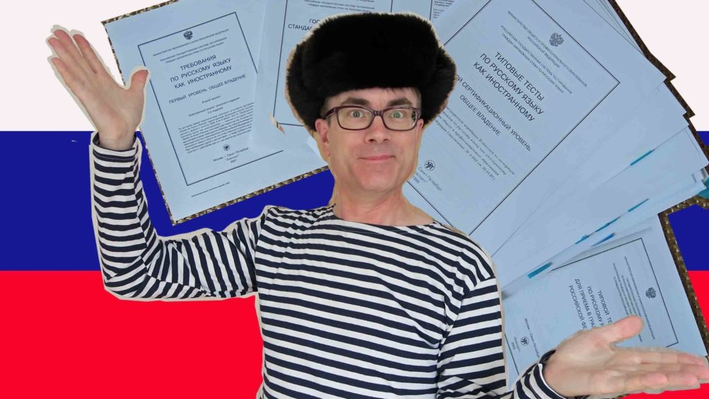 Russian language tests presented by a guy in a Russian hat