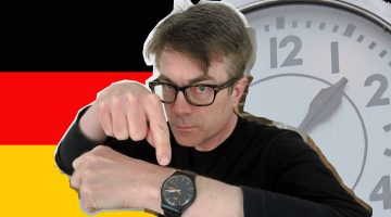Learn German fast Dr P has his eye on the clock