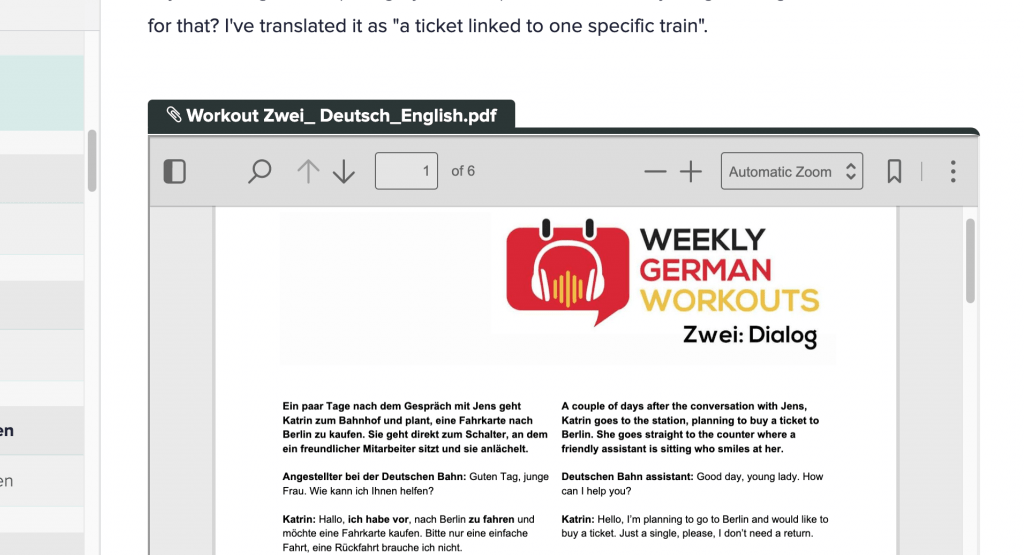 A German-English parallel text for use to improve listening skills with a dictation listening-transcribing exercise